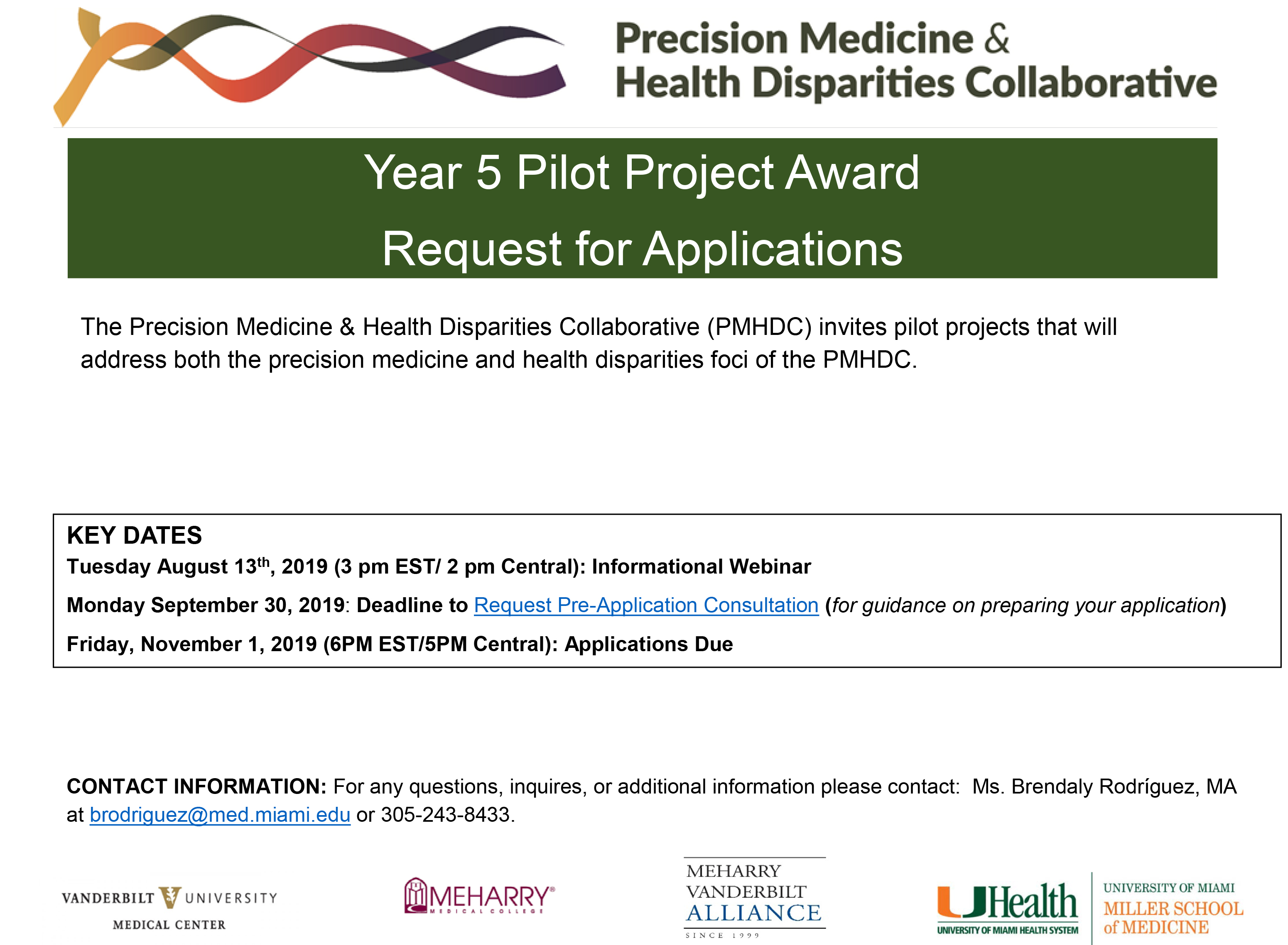 PMHDC Year 5 Pilot Project Award Request for Applications