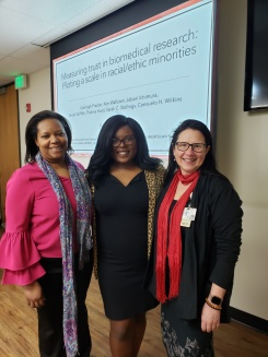 MVA Executive Director Consuelo H. Wilkins, MD, MSCI; MVA Research Immersion participant Carleigh Frazier; and MVA Research Assistant Professor, Sarah Stallings, PhD